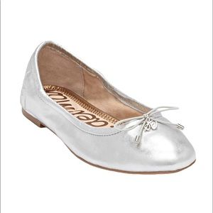 Sam Edelman Ballet Flat, Silver Leather, Sz 8